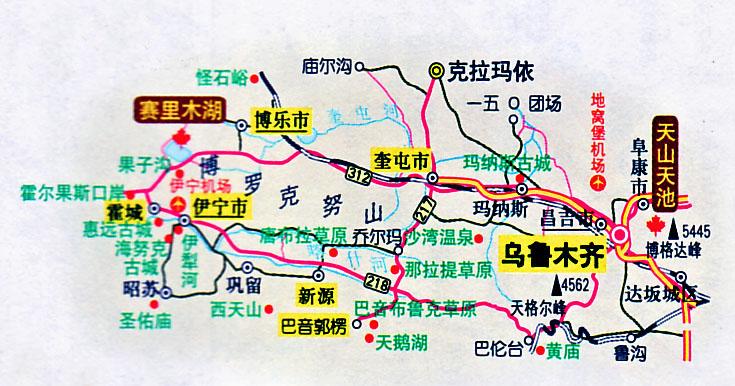 伊犁旅游地图--地图下载--新疆地情网